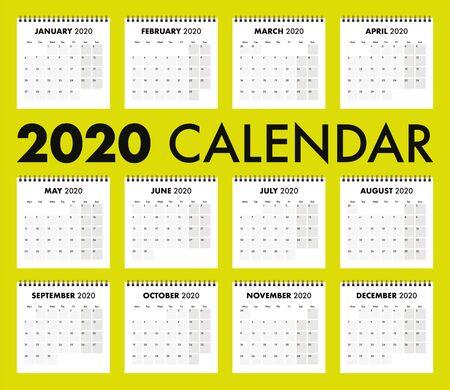 A 2020 calendar with wire bind Ilustracja