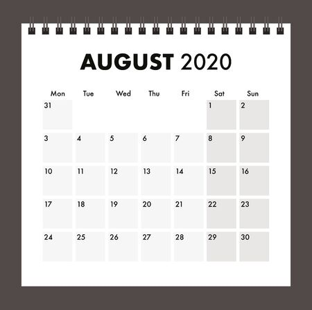 august 2020 calendar with wire band Vectores