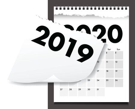 a 2020 torn calendar paper Stok Fotoğraf - 131680974