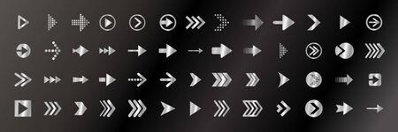 Metallic black arrow line set