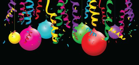 A balloon background with streamers Ilustracja
