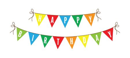 Happy birthday colourful bunting background