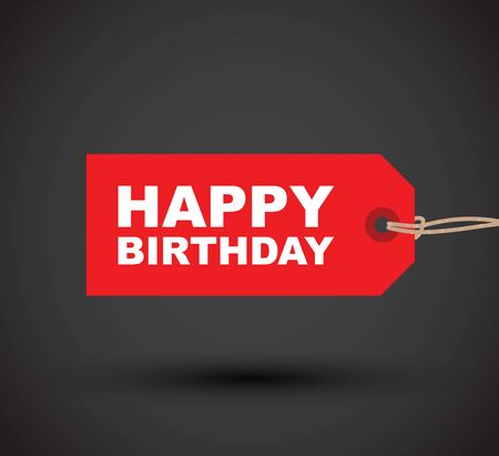 a red happy birthday tag label Ilustrace