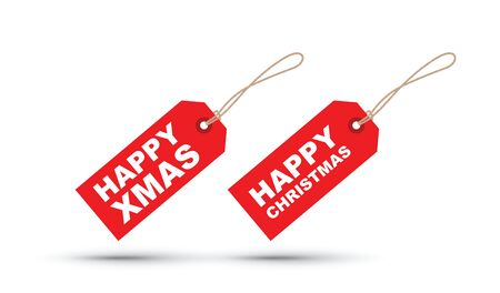 a red Christmas tag label