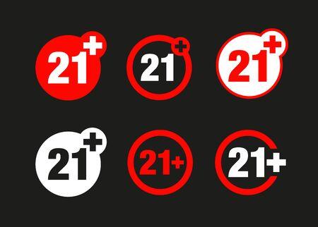 a twenty-one years over icon set Illustration