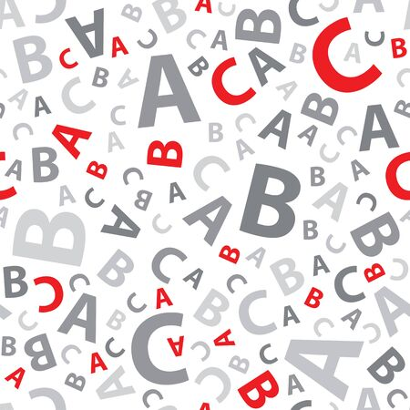 Red and grey abc letter background seamless Illustration