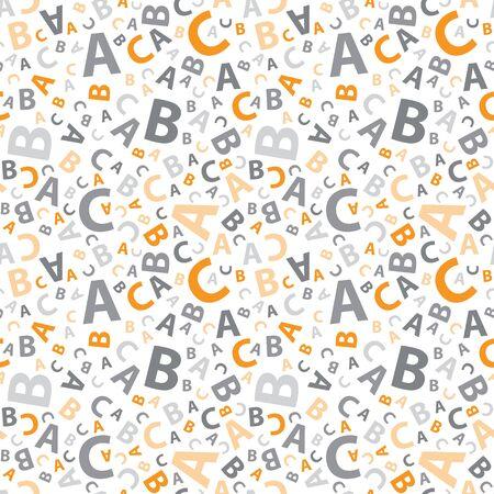 Orange and grey abc letter background seamless Illustration