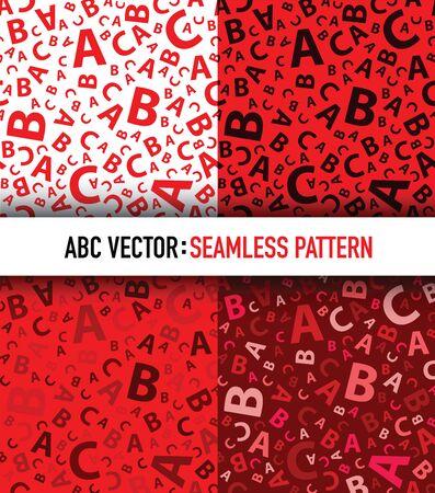 Red abc letter background seamless set Illustration