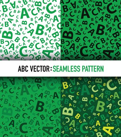 Green abc letter background seamless set