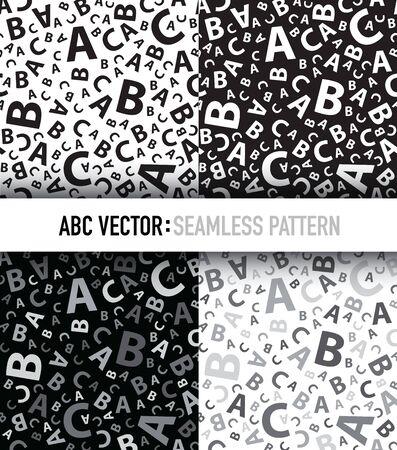Black abc letter background seamless set Illustration