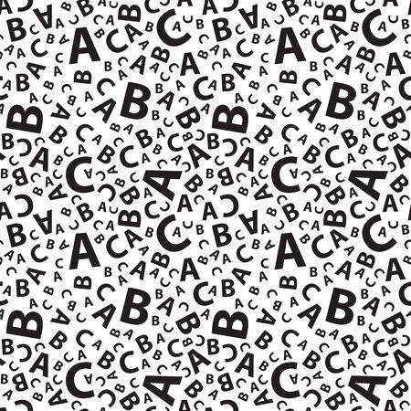 black and white abc letter background seamless Illustration