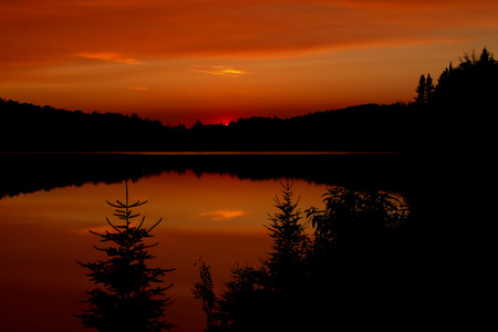 An autumn sunset in Algonquin Park