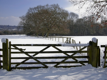 A snow covered rural landscape in the countryside Stock Photo