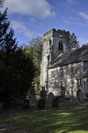 church tower in rural england photo