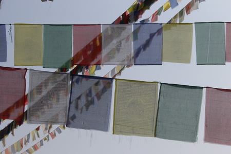 Prayer Flags blowing in the wind in the Himalayas