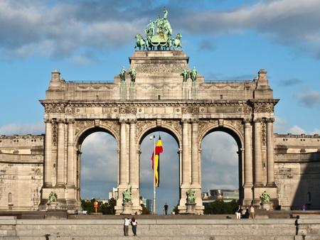 glorification: Triumphal Arch, Parc du Cinquantenaire, Brussels, Belgium Editorial
