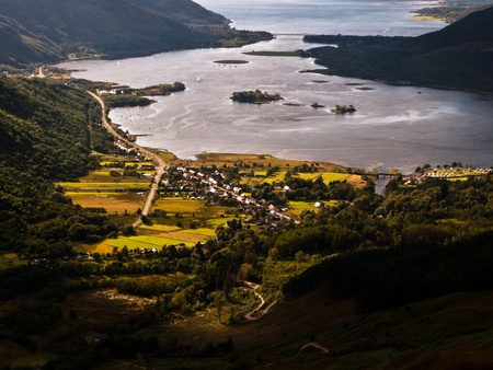 glencoe: Glencoe seen from Aonach Eagach Ridge, Scotland Stock Photo
