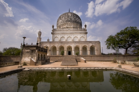Ancient Mausoleum and Reflecting Pool Stock Photo
