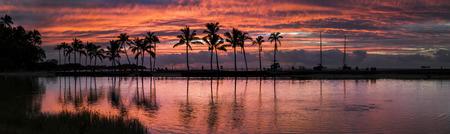 Sunset in Anaeho omalu Bay Hawaii Stock Photo