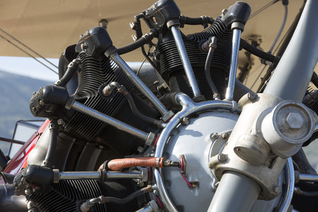 Close up of the rotary engine of an old bi-plane