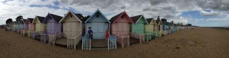 Beach huts mersea  Stock Photo