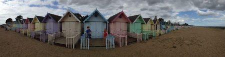 mersea: Beach huts mersea  Stock Photo