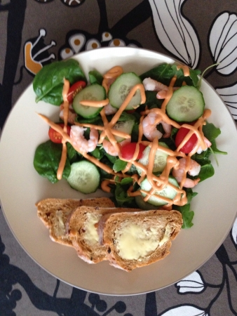 home cooked: Home cooked meal prawn salad and bread