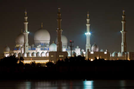 nightime: Sheikh Zayed Grand Mosque, Abu Dhabi, United Arab Emirates at night.