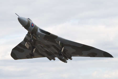 Farnborough, England, UK - July 24, 2010: Last flying Vulcan bomber B.2 XH558 at Farnborugh 2010 Airshow. Stock Photo - 12935915