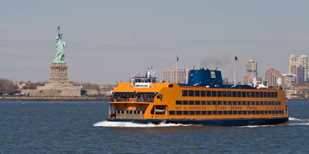 ferry: New York City, NY, USA - March 6, 2012: The Staten Island Ferry leaving Manhattan. Editorial