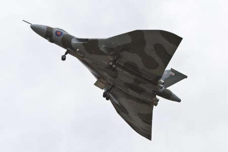 Farnborough, England, UK - July 24, 2010: Last flying Vulcan bomber B.2 XH558 at Farnborugh 2010 Airshow. Stock Photo - 12992990