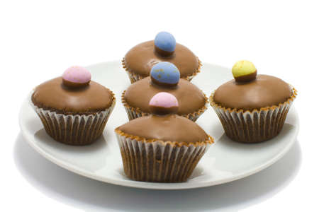 Easter mini egg cupcakes isololated on a white background  photo