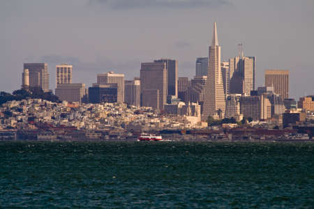 san fran: San Francisco skyline looking south eastwards from Sausalito across San Francisco Bay. Stock Photo