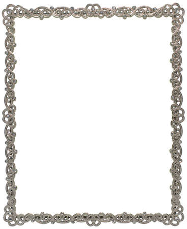 jeweled: A sparkly silver picture frame, isolated on a white background Stock Photo