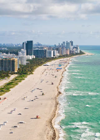 south miami: An early morning aerial view of Miami Beach, Florida