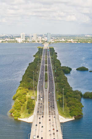 tuttle: Looking west from 200 feet along Interstate 195 Julia Tuttle Causeway Miami, Florida  Stock Photo