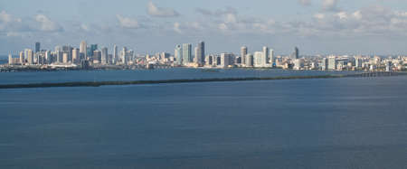 tuttle: The Miami skyline viewed from 200 feet looking south-west across the Julia Tuttle causeway