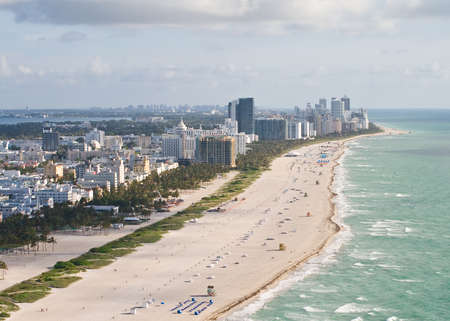 An early morning aerial view of Miami Beach, Florida  photo