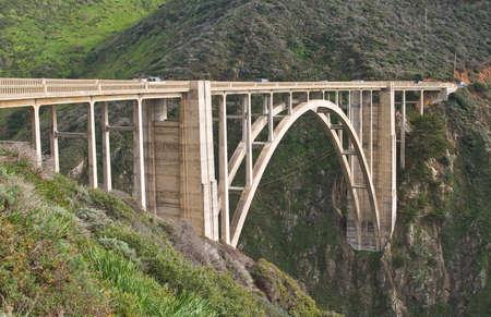 big sur: Bixby Creek Bridge, Big Sur, California. Oened in 1932, Bixby Bridge is an example of a reinforced concrete open-spandrel arch bridge in Big Sur, California.
