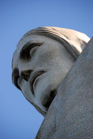 A close-up of Christ the Redeemer (Cristo Redentor) in Rio de Janeiro, Brazil Editorial