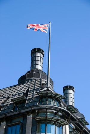 portcullis: Portcullis House with Union Jack Flying, Westminster, London, UK Stock Photo