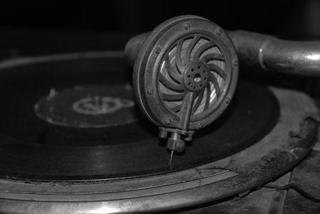 Black and White Record Player / Vinyl / Gramophone Stock Photo - 4983800