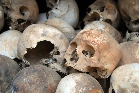phnom phen: Skulls at the Killing Fields, Cambodia Stock Photo