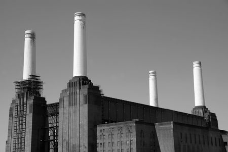 battersea: Battersea Powerstation - Black and White Stock Photo