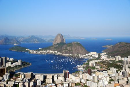 brasil: Sugarloaf mountain and the lagoon in Rio de Janeiro, Brazil Stock Photo