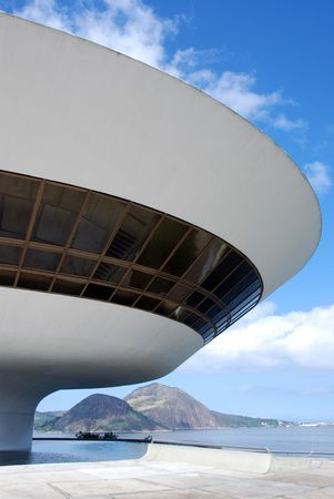 innovator: The MAC in Niteroi, Rio de Janeiro, Brazil looking very much like a spaceship  Stock Photo