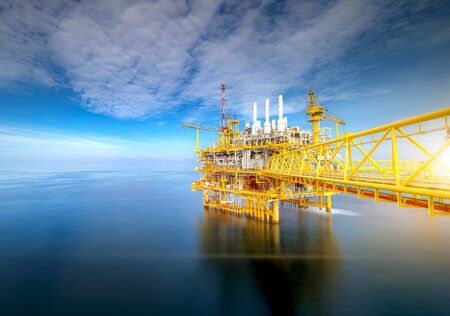 Large offshore drilling oil rig plant in the gulf Stock Photo
