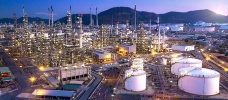 Panorama aerial view oil and gas refinery,refinery Industry at twilight