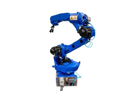 Blue robotic arm isolated on white background.