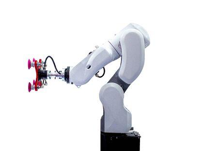 White robotic arm isolated on white background Stock Photo